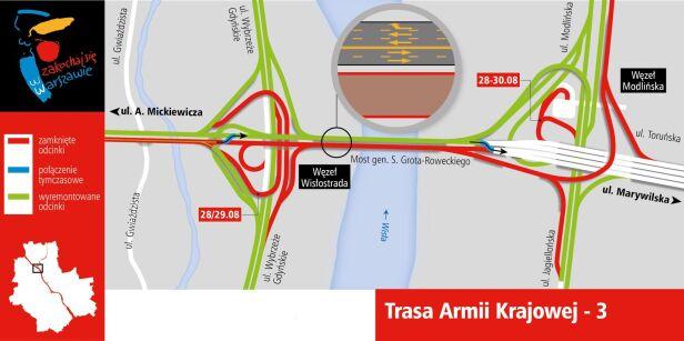 Zamknięte łącznice na Trasie AK UM Warszawa