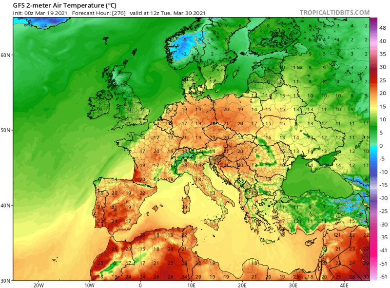 Temperatura prognozowana na 30 marca według modelu GFS/tropicaltidbits