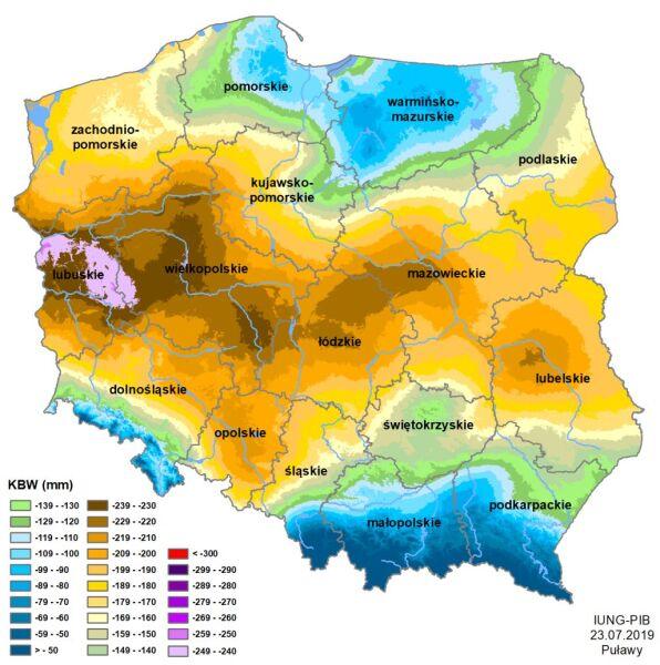 Suza rolnicza w Polsce - stan z 23 lipca 2019 roku (IUNG-PIB)