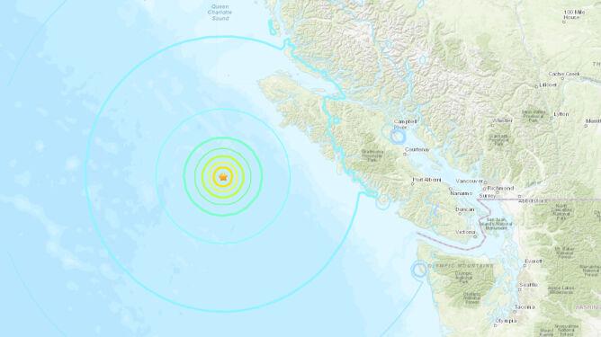 Zasięg wstrząsów najsilniejszego trzęsienia (USGS)