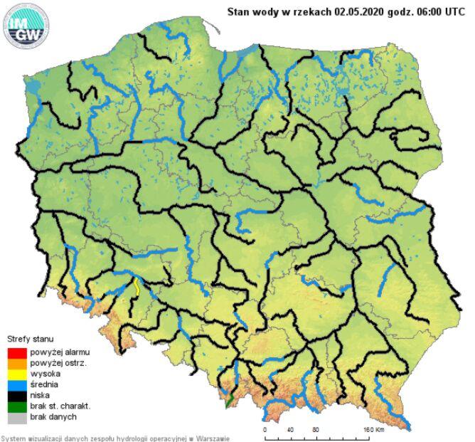 Stan wody w rzekach 2 maja o godzinie 8 (pogodynka.pl/polska/hydro)