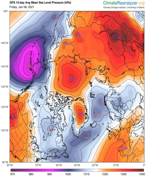 Prognoza średniego ciśnienia atmosferycznego na poziomie morza na najbliższe 10 dni (ClimateReanalyzer.org)