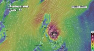 Prognozowane porywy wiatru podczas tajfunu Kammuri